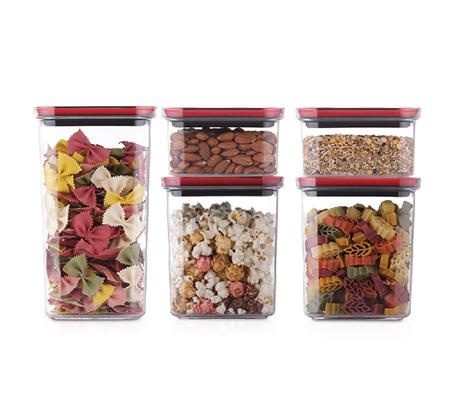סט 5 קופסאות לאחסון במטבח בטכנולגיית TWIST IT עם פתיחה ונעילה בסיבוב כפתור Food Appeal