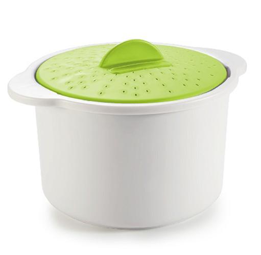 סיר 2 ליטר בצבע לבן וירוק להכנת אורז במיקרוגל בקלות ובפשטות עם מכסה מחורר