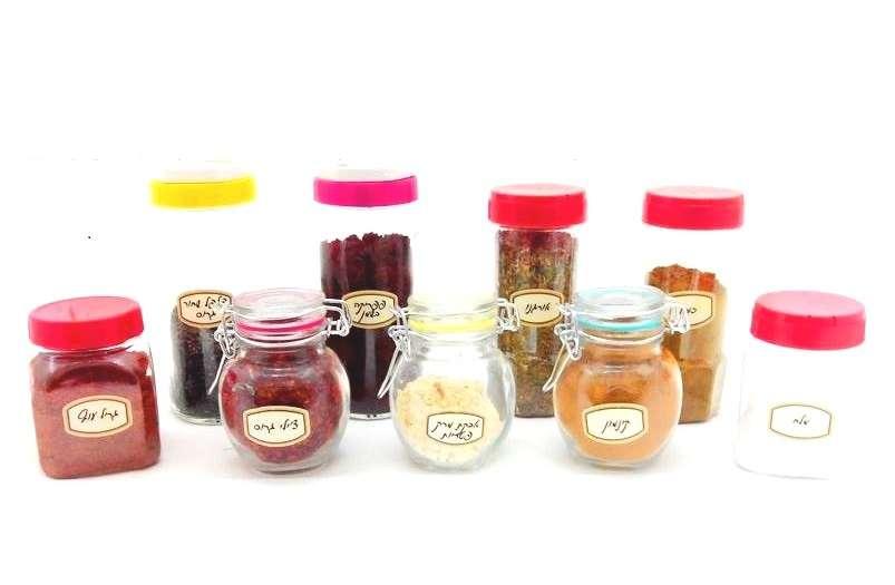 סט מדבקות תבלינים מכל הסוגים + מדבקות עם תאריך ייצור ומדבקות ריקות