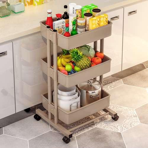 עגלת מטבח 3 קומות כולל גלגלים להגשה קלה ונוחה ואחסון במטבח