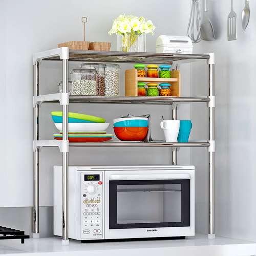 ארגונית מטבח למיקרוגל 3 קומות מדפי אחסון למטבח
