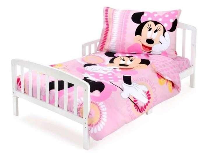 סט מצעים לילדים 100% כותנה למיטת מעבר/תינוק 3 חלקים דגם מיני מאוס ורוד