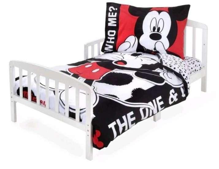 סט מצעים לילדים 100% כותנה למיטת מעבר/תינוק 3 חלקים דגם מיקי מאוס אדום שחור
