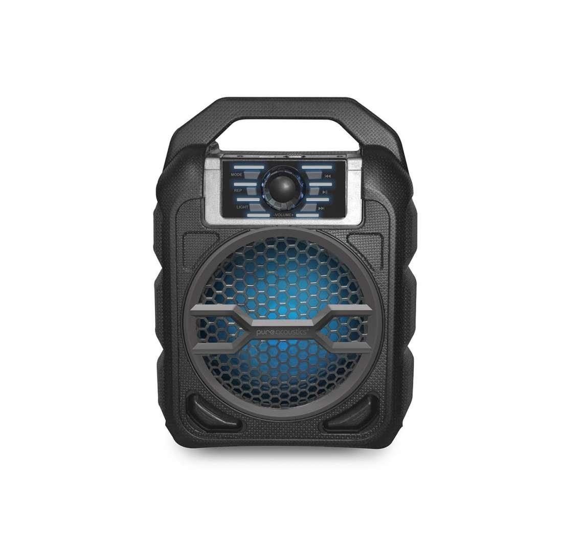 בידורית קריוקי ניידת PURE ACOUSTICS רמקול בלוטוס עם תאורת דיסקו ומיקרופון דגם LX-20