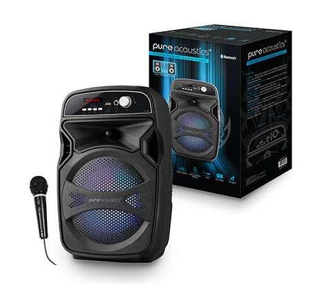 בידורית קריוקי אלחוטית עם TWS רמקול BT נייד עם תאורת דיסקו ומיקרופון חוטי Pure Acoustics דגם LX-65