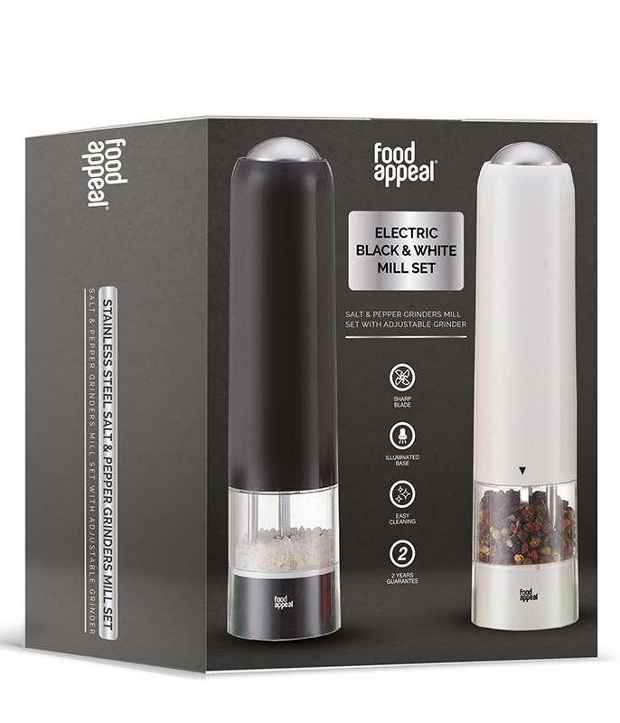 זוג מטחנות מלח-פלפל חשמליות עם תאורה מבית Food Appeal