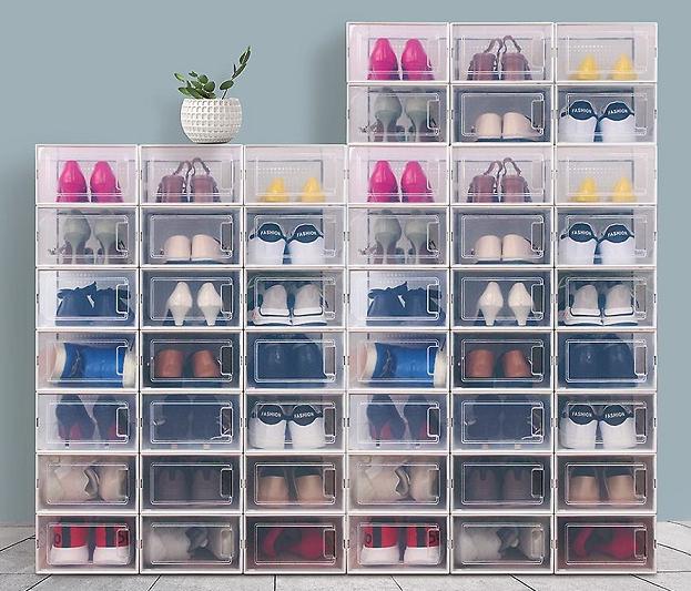 סט 6 קופסאות לאחסון נעליים או בגדים ב- 3 גדלים לבחירה
