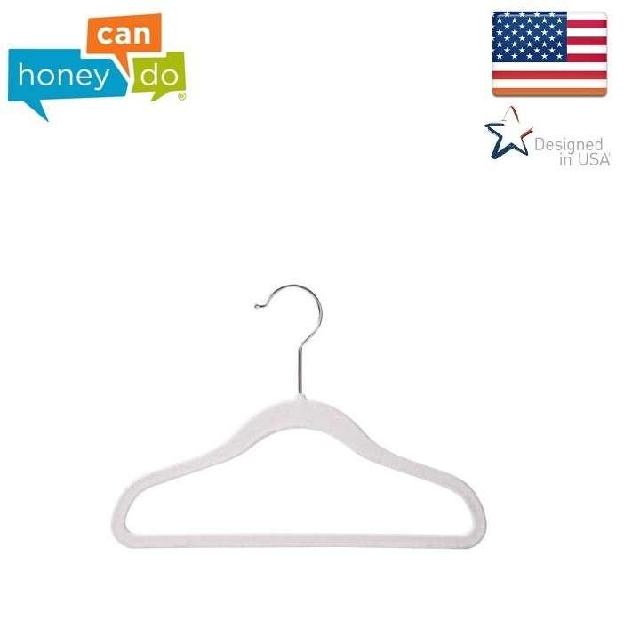 """סט 10 קולבי קטיפה לילדים צבע אפור דגם HNG-08271 מבית HONEY CAN DO ארה""""ב"""