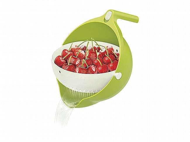 מסננת מסתובבת בשילוב קערה לשטיפת ירקות, פירות סינון פסטה ועוד