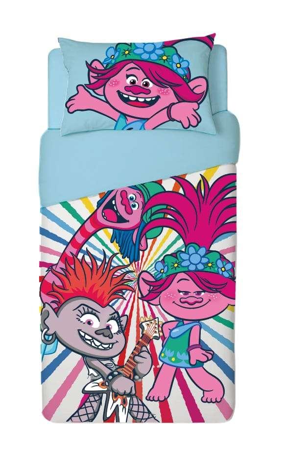 סט מצעים למיטת יחיד 100% כותנה לילדים דגם טרולים