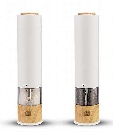 מטחנת מלחפלפל אלקטרונית עם מנגנון גריסה מתכוונן לבן עץ