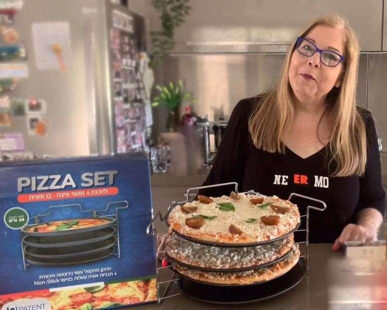 """בלעדי לסוויט דולי: סט פיצה לתנור הכולל 4 מגשי פיצה בקוטר 29 ס""""מ"""