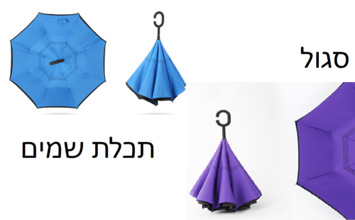 זוג מטריות מתהפכות ב- 85 ₪ בלבד ! שלישייה ב- 119 ₪ כולל משלוח חינם !