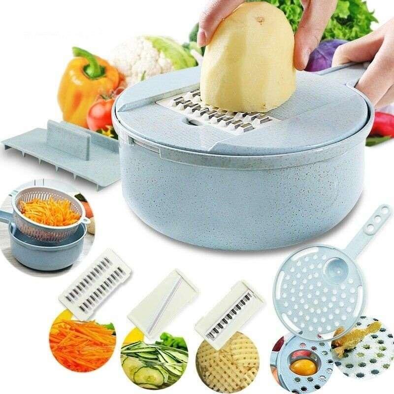מנדולינה 8 ב-1 חובה בכל מטבח לחיתוכים שונים הפרדת ביצים מסננת ועוד...