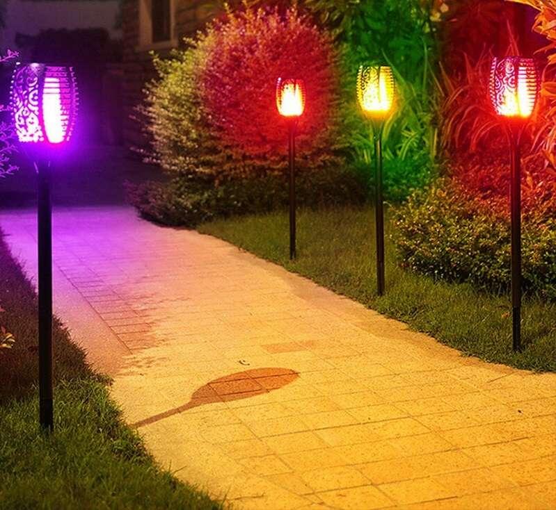 זוג תאורה סולארית להבה FLAME-X מחליפה צבעים,עמידה במים, שתאיר לכם את הגינה