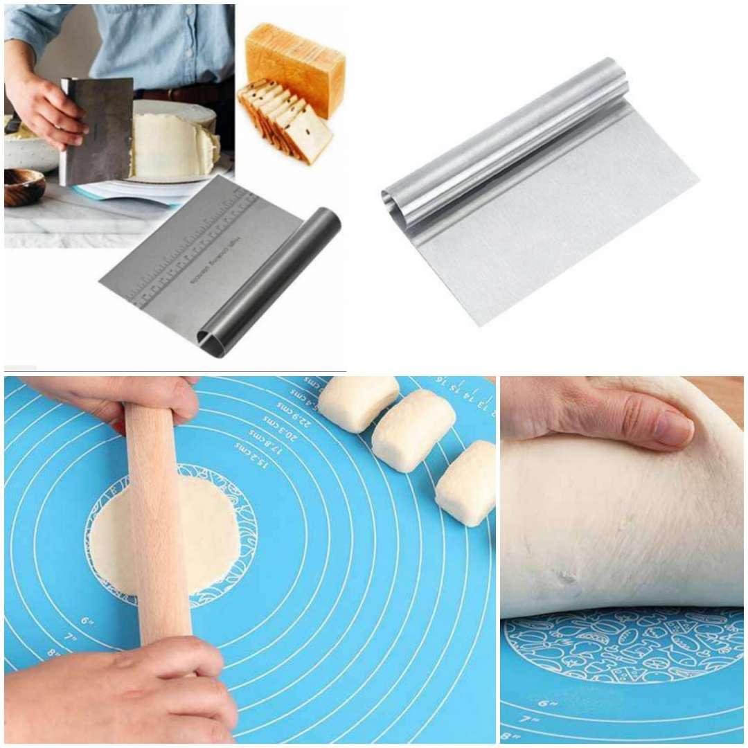 מארז הכולל משטח אפייה 40*50 + כלי מנירוסטה המשמש לחיתוך בצקים וכקלף למריחה של קרמים