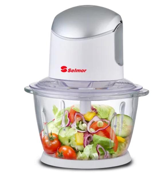קוצץ ירקות עם כוס זכוכית - כותש קרח מבית סלמור דגם SE-186 לקיצוץ מהיר של כל סוגי המזון והתבלינים
