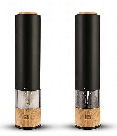 מטחנת מלחפלפל אלקטרונית עם מנגנון גריסה מתכוונן שחור עץ