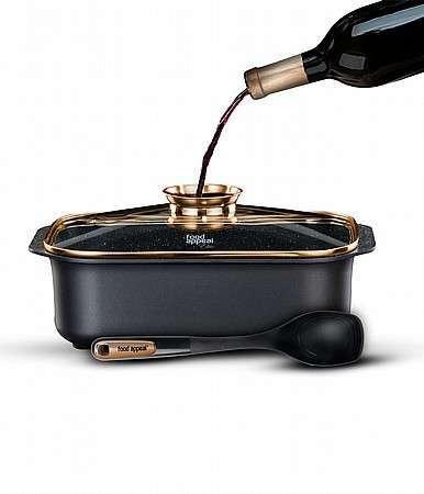 """רוסטר עם מכסה ארומטי בגימור זהב + כף הגשה, 26*39 ס""""מ, 7.8 ליטר BLACK MARBLE - משלוח חינם"""