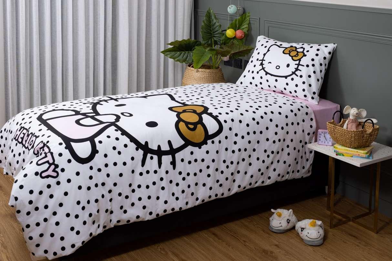 דגמי 2021 - סט מצעים למיטת יחיד 100% כותנה לילדים דגם הלו קיטי