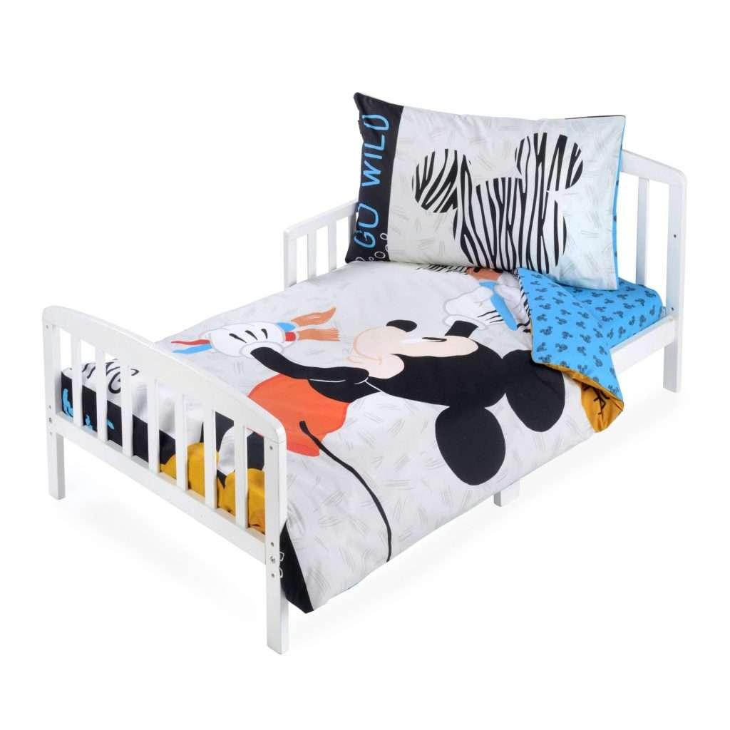 סט מצעים לילדים 100% כותנה למיטת מעבר/תינוק 3 חלקים דגם סט מצעים למיטת מעבר מיקי טרופי