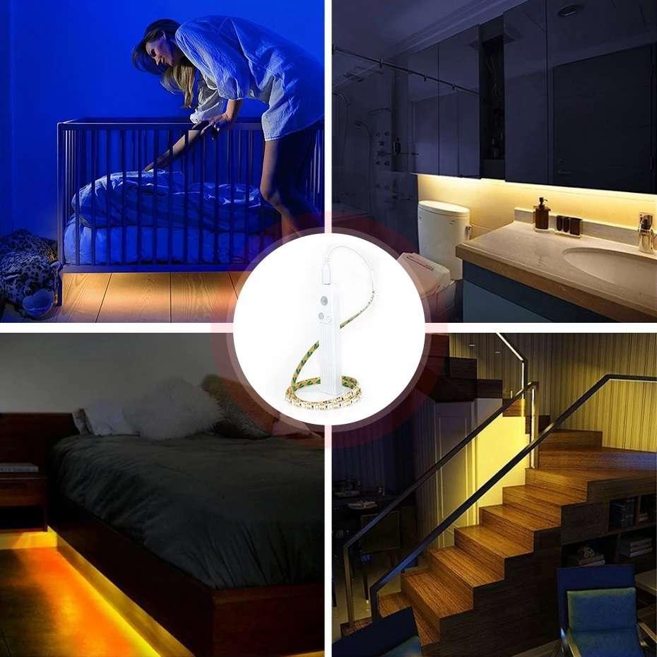 תאורת חיישן 2 מצבים באורך 3 מטר המשלבת 180 נורות LED, ללא צורך בחיבור לחשמל