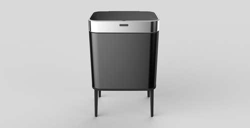 פח אשפה אוטומטי בעיצוב חדשני כולל רגליים 40 ליטר עם חיישן אלקטרוני - צבע שחור