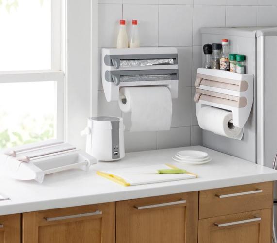 מתלה למטבח 4 ב-1 המיועד לנייר מגבת, נייר כסף,ניילון נצמד וכמדף לתבלינים